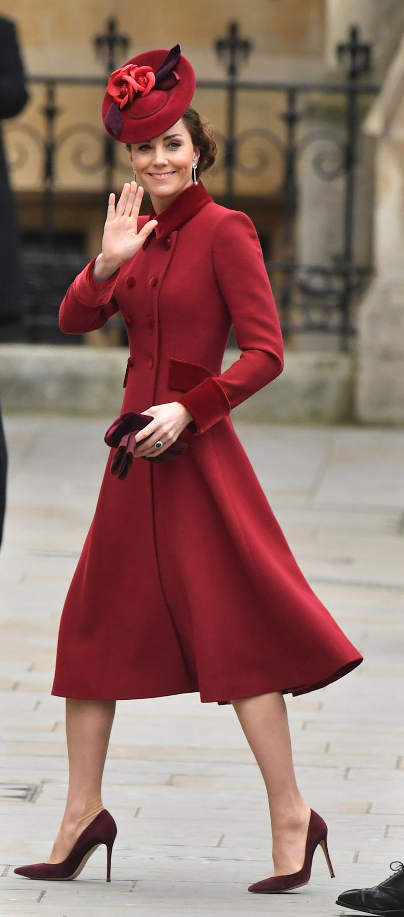 Kate Middleton attended the service in a garnet-hued Catherine Walker dress. (Photo: Dominic Lipinski/PA Images via Getty Images)