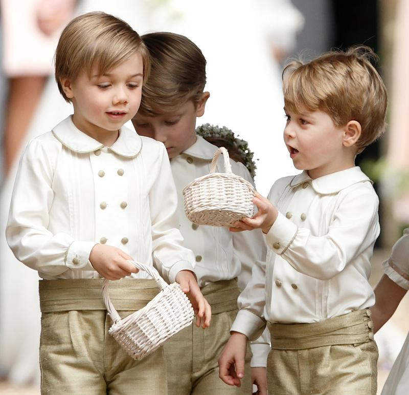 ENGLEFIELD GREEN, UNITED KINGDOM - MAY 20: (EMBARGOED FOR PUBLICATION IN UK NEWSPAPERS UNTIL 48 HOURS AFTER CREATE DATE AND TIME) Prince George of Cambridge (c) attends the wedding of Pippa Middleton and James Matthews at St Mark's Church on May 20, 2017 in Englefield Green, England. (Photo by Max Mumby/Indigo/Getty Images)