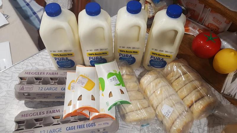 Image of milk, McMuffins, eggs and apple and banana pie grocery haul