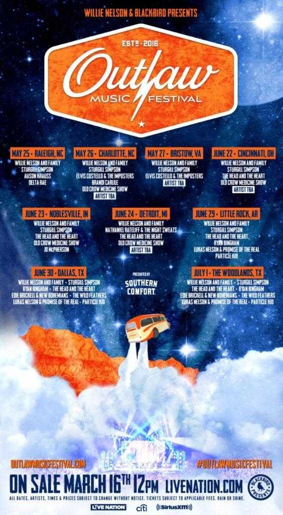 unnamed 36 Willie Nelsons Outlaw Music Festival Tour returns with Sturgill Simpson, Elvis Costello, and more