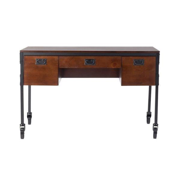 Home Decorators Collection 3-Drawer Writing Desk with Wheels