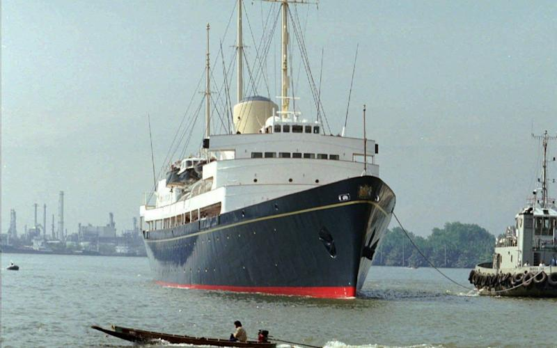 HMY Britannia as it is tugged to port in Bangkok, May 9 1997 - AP1997