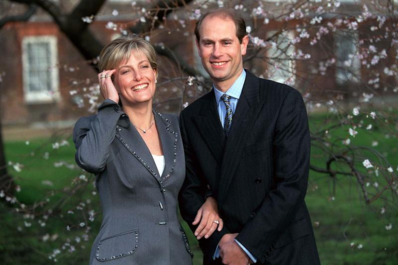 Sophie Rhys-jones And Prince Edward on The Day Of Their Engagement. Photo by Tim Graham via Getty Images.