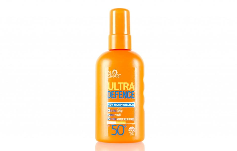 """<p>Sprays will always top a cream (in our opinion, at least) and this highly moisturising – and highly affordable – product is a pretty good option for your sun-soaked holidays. It feels incredibly lightweight and more importantly non-greasy with soothing aloe included just in case you burn.<br><a rel=""""nofollow noopener"""" href=""""http://www.marksandspencer.com/ultra-defence-spray-spf50-200ml/p/p22499409?prevPage=plp"""" target=""""_blank"""" data-ylk=""""slk:M&S, £12"""" class=""""link rapid-noclick-resp""""><i>M&S, £12</i></a> </p>"""
