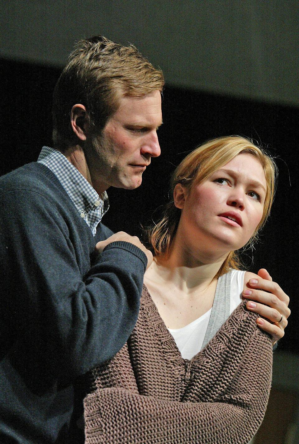 Stiles and Aaron Eckhart in the 2005 West End production of 'Oleanna'Alastair Muir/REX