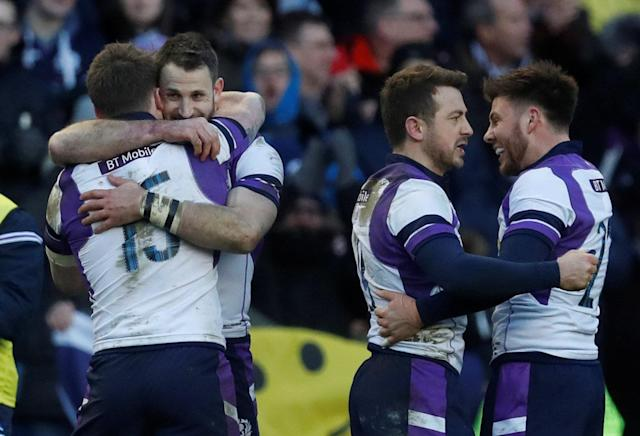 Rugby Union - Six Nations Championship - Scotland vs France - BT Murrayfield, Edinburgh, Britain - February 11, 2018 Scotland players celebrate after the match REUTERS/Russell Cheyne