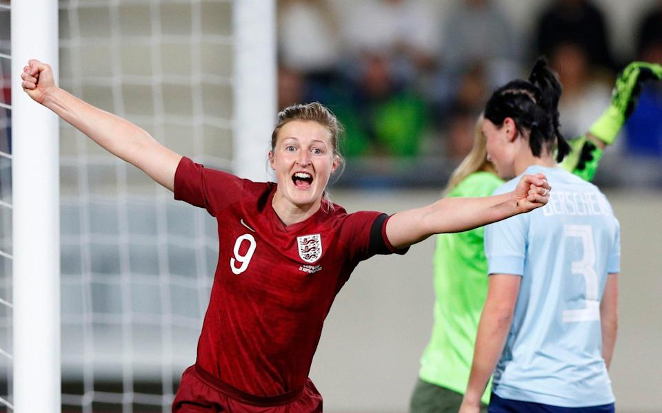 Ellen White of England celebrates after scoring their side's first goal during the FIFA Women's World Cup 2023 Qualifier group D match between Luxembourg and England at the Luxembourg National Stadium on September 21, 2021 in Luxembourg, Luxembourg. - GETTY IMAGES