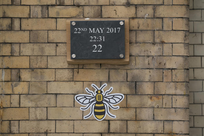 MANCHESTER, UNITED KINGDOM - May 22, 2020 -- A tribute is seen memorizing the Manchester Arena attack in Manchester, England, May 22, 2020.   Manchester on Friday marked the third anniversary of the terrorist attack which killed 22 people and injured hundreds. The attack happened when Salman Abedi detonated a bomb at the end of a concert by U.S. pop singer Ariana Grande on May 22, 2017. (Photo by Jon Super/Xinhua via Getty) (Xinhua/Jon Super via Getty Images)
