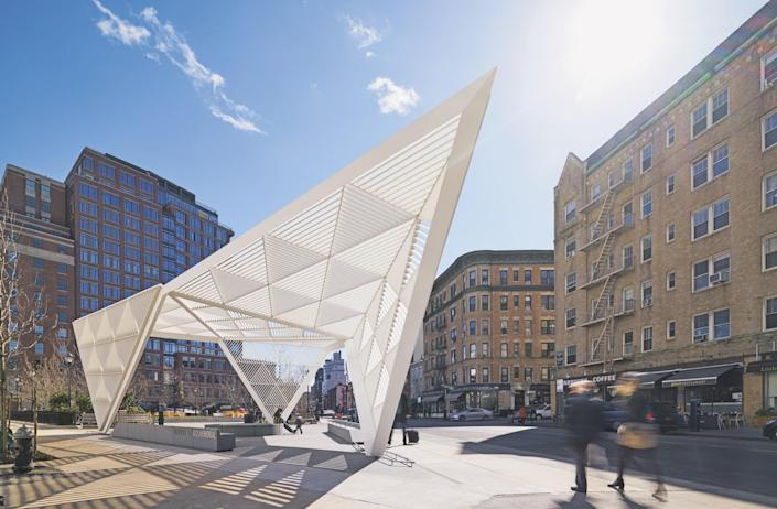 Completed in 2016, the New York City AIDS Memorial is located beside the former site of St. Vincent's Hospital, which was at the center of the AIDS epidemic. The open and airy design by Studio AI Architects was selected from 475 entries in a design competition. The centerpiece of the memorial is a white steel–and–aluminum pavilion, which covers a fountain, benches, and an installation by artist Jenny Holzer.