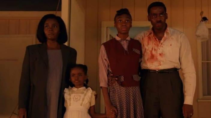 "(from left) Deborah Ayorinde, Melody Hurd, Shahadi Wright Joseph and Ashley Thomas, shown in their roles as The Emory family in ""Them."" (Amazon Prime)"