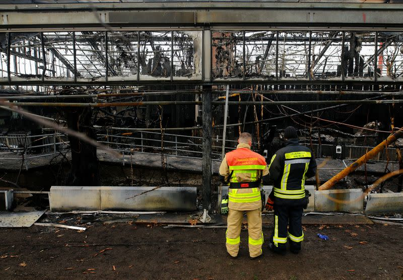 Firefighters observe a burned monkey house in the zoo of Krefeld