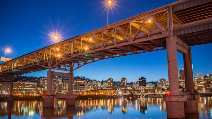 Evening sets upon the Willamette River in beautiful downtown Portland, Oregon.