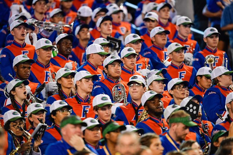 ORLANDO, FL - AUGUST 24: The Gators band watch the game during the second half of the Camping World Kickoff between the Florida Gators and the Miami Hurricanes on August 24, 2019, at Camping World Stadium in Orlando, FL. (Photo by Roy K. Miller/Icon Sportswire via Getty Images)