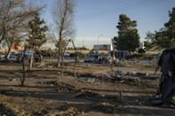 The remnants of campsites where families from the Mexican state of Michoacan had been camped are seen in Chamizal Park in Ciudad Juarez