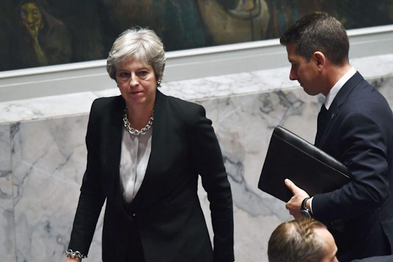 Cutting a lonely figure: Theresa May will address the Conservative Party conference with little support among MPs for her Chequers plan: AFP/Getty Images