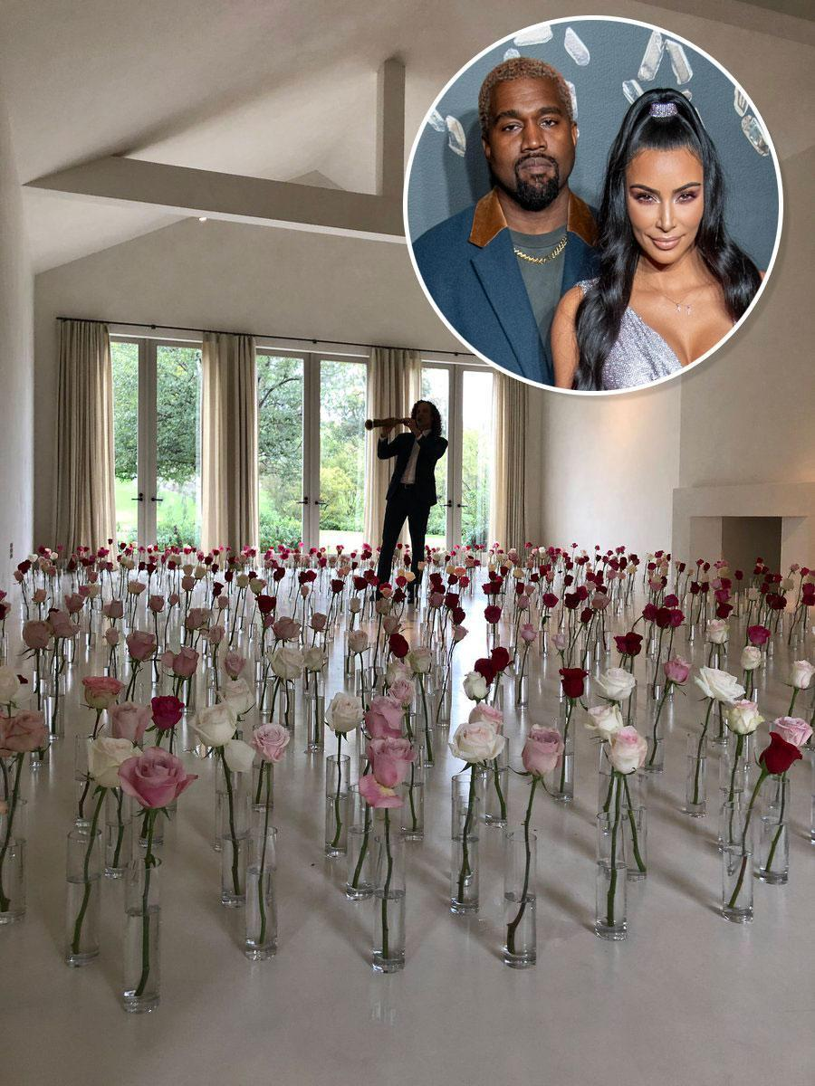 Kanye West had Kenny G come over to play music for Kim Kardashian in a room of roses. (Photo: Kim Kardashian/Twitter/Getty Images)