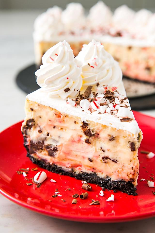 """<p>A minty, chocolate-y epic holiday dessert. </p><p>Get the recipe from <a href=""""https://www.delish.com/holiday-recipes/christmas/a25441818/peppermint-bark-cheesecake-recipe/"""" target=""""_blank"""">Delish</a>. </p>"""