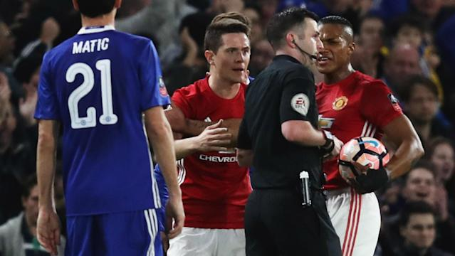 After Ander Herrera's sending off for a foul on Eden Hazard, the players surrounded referee Michael Oliver and have admitted to a charge of misconduct