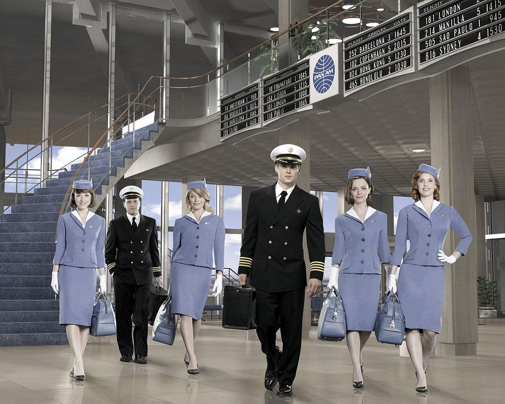 "PAN AM - ABC's ""Pan Am"" stars Karine Vanasse as Colette, Michael Mosley as Ted, Margot Robbie as Laura, Mike Vogel as Dean, Christina Ricci as Maggie and Kelli Garner as Kate. (ABC/BOB D'AMICO)"