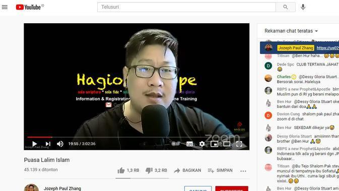 Tangkapan layar channel Youtube Jozeph Paul Zhang. (Istimewa)