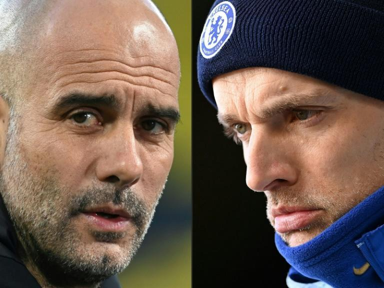 Pep Guardiola (left) is preparing to lock horns with Thomas Tuchel in the Premier League (AFP/Ina Fassbender, Laurence Griffiths)
