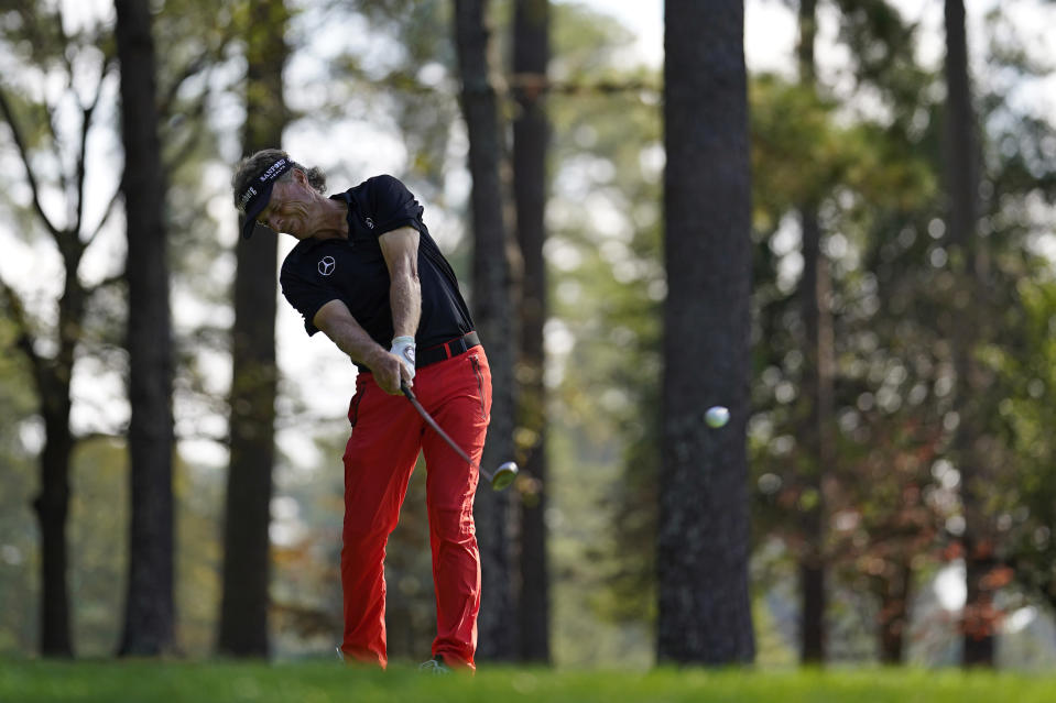 Bernhard Langer, of Germany, tees off at the fourth hole during the third round of the Masters golf tournament Saturday, Nov. 14, 2020, in Augusta, Ga. (AP Photo/David J. Phillip)