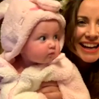 Screengrab of Charlotte Church and her baby (Sink The Pink Pop Tarts podcast)