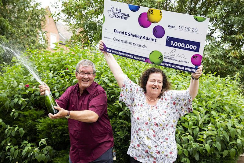 David and Shelley Adams celebrate their £1million win after a year of setbacks (SWNS)