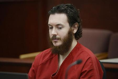 James Holmes sits in court for an advisement hearing at the Arapahoe County Justice Center in Centennial