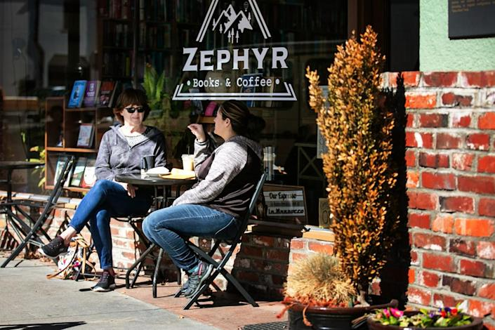 Customers enjoy a coffee at Zephyr Books and Coffee in rural Northern California