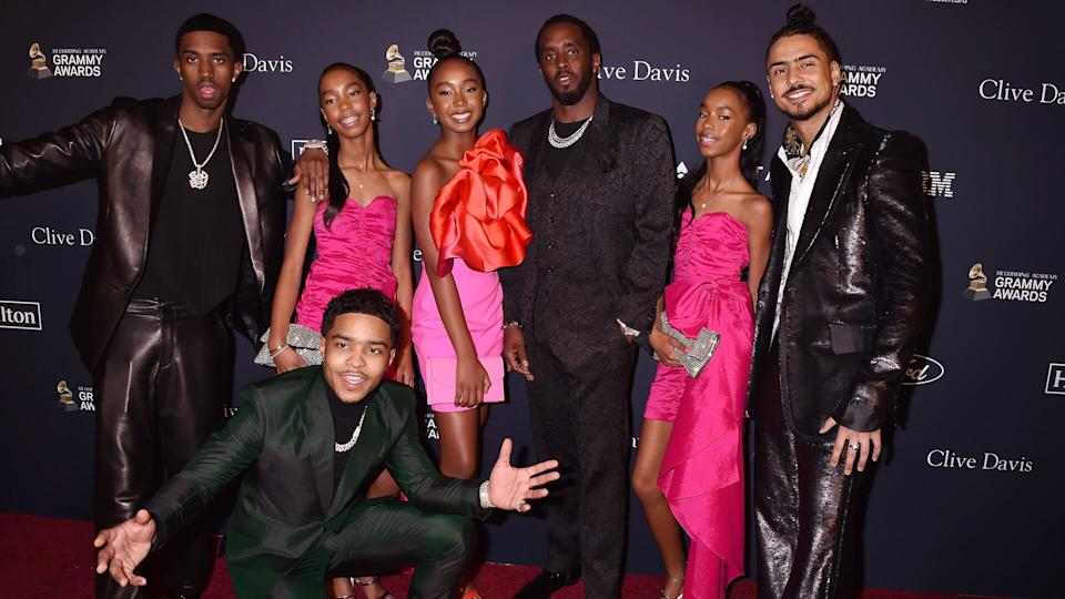 """Mandatory Credit: Photo by Broadimage/Shutterstock (10540337g)Honoree Sean """"Diddy"""" Combs (C) with Justin Dior Combs, Christian Casey Combs, Quincy Taylor Brown, D'Lila Star Combs, Jessie James Decker Combs, and Chance CombsClive Davis' 2020 Pre-Grammy Gala, Arrivals, The Beverly Hilton, Los Angeles, USA - 25 Jan 2020."""