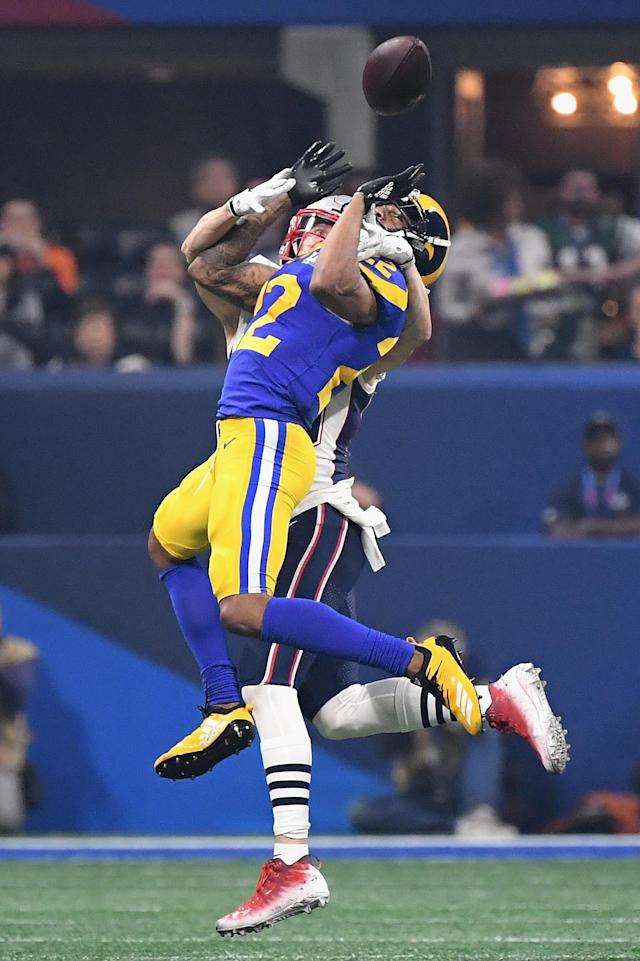 <p>Marcus Peters #22 of the Los Angeles Rams defends a pass against the New England Patriots during Super Bowl LIII at Mercedes-Benz Stadium on February 3, 2019 in Atlanta, Georgia. (Photo by Harry How/Getty Images) </p>