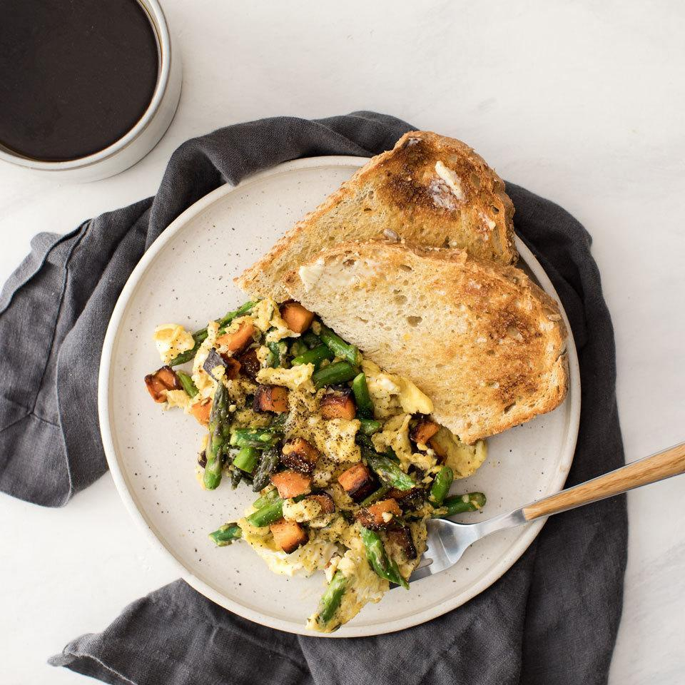 <p>This fridge-clean-out meal is the perfect way to use up whatever vegetables you have on hand. Chop up anything that's been left behind in your veggie drawer for this quick scramble that's the perfect healthy dinner for one.</p>