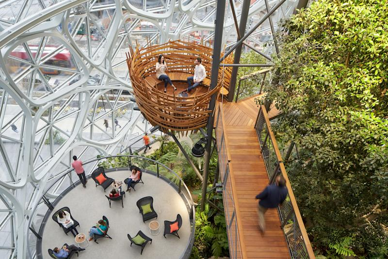 Nature rules. Biophilia is a buzzword that refers to our innate love of nature. Data shows that exposure and access to the living world can improve student test scores, heal patients faster, make us more productive, and generally lift our spirits. Unsurprisingly, buildings from schools to hospitals are testing the theory, but The Spheres at Amazon's Seattle campus may be among the most sensational examples of bringing nature to work. Home to more than 40,000 cloud forest plants, the curved glass orbs were designed by NBBJ to provide a place for employees to step away from their desks, think creatively, and collaborate.