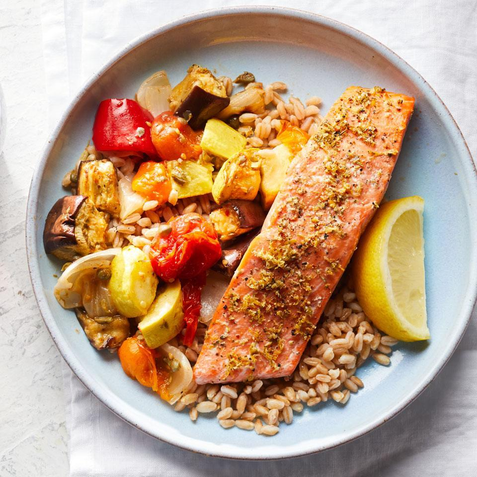 """<p>Dig into your farmers' market haul to cook this colorful and healthy Mediterranean diet dinner recipe that's packed with vegetables. Feel free to swap in any vegetables or cook up another whole grain, such as brown rice. Serve with a glass of your favorite red wine. <a href=""""http://www.eatingwell.com/recipe/258522/lemon-herb-salmon-with-caponata-farro/"""" rel=""""nofollow noopener"""" target=""""_blank"""" data-ylk=""""slk:View recipe"""" class=""""link rapid-noclick-resp""""> View recipe </a></p>"""