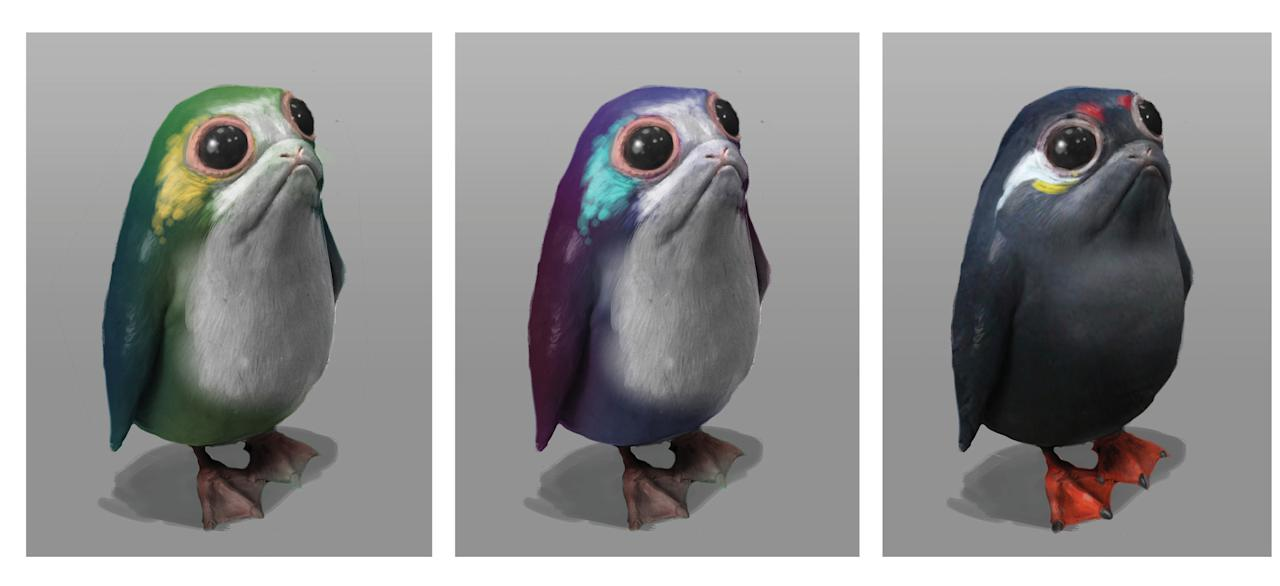 <p>After Rian Johnson settled on the look of the adorable space penguins, artist Jake Lunt Davies offered versions in virtually every color of the rainbow. (Image courtesy of Abrams Books and Lucasfilm Ltd. Used under authorization.) </p>