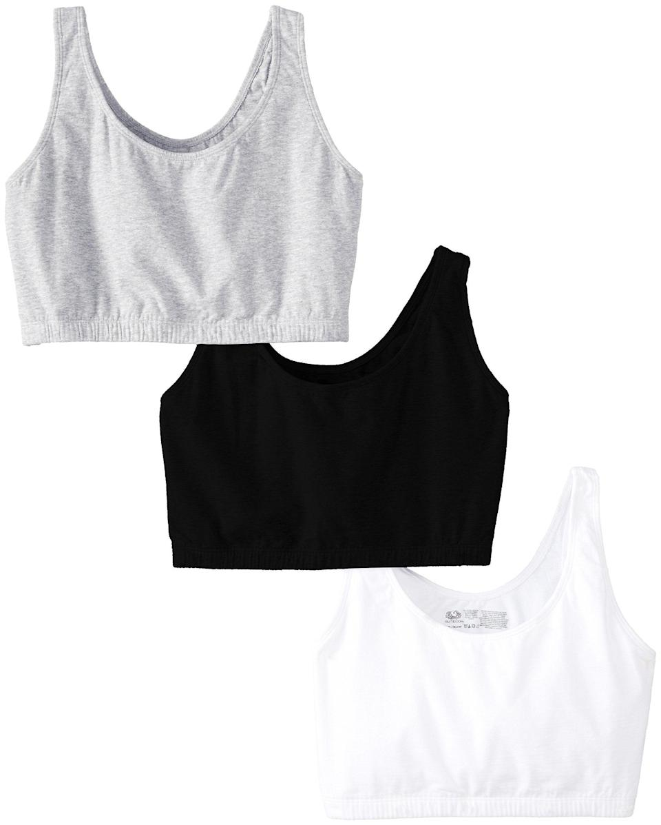 "<h3>Fruit Of The Loom Tank Style Sports Bra</h3><br>These Fruit of The Loom cotton-blend bras are as comfy as comfy gets — seriously, you'll probably forget that you have these on. Plus, $13 for three makes each one come out to about $4.33 each.<br><br><strong>Fruit Of The Loom</strong> Tank Style Sports Bra, $, available at <a href=""https://amzn.to/33F6LPY"" rel=""nofollow noopener"" target=""_blank"" data-ylk=""slk:Amazon"" class=""link rapid-noclick-resp"">Amazon</a>"