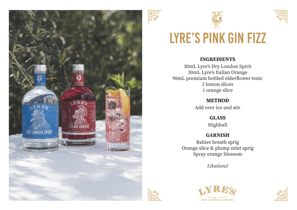 How to make a non-alcoholic Pink Gin Fizz. Source: Suppled/Lyre's