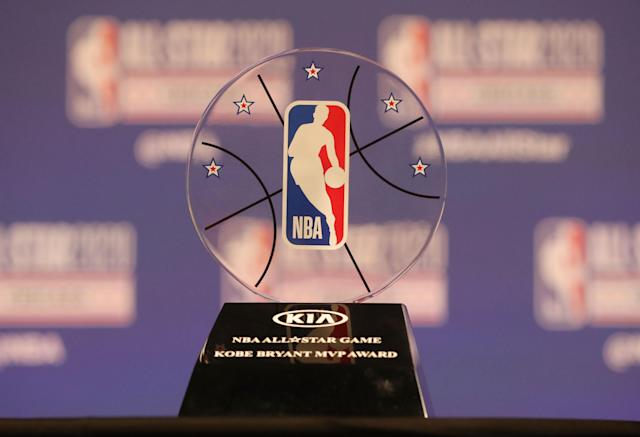 NBA commissioner Adam Silver unveiled the Kobe Bryant MVP Award at a press conference during NBA All-Star Saturday Night at United Center. (Dennis Wierzbicki-USA TODAY Sports)