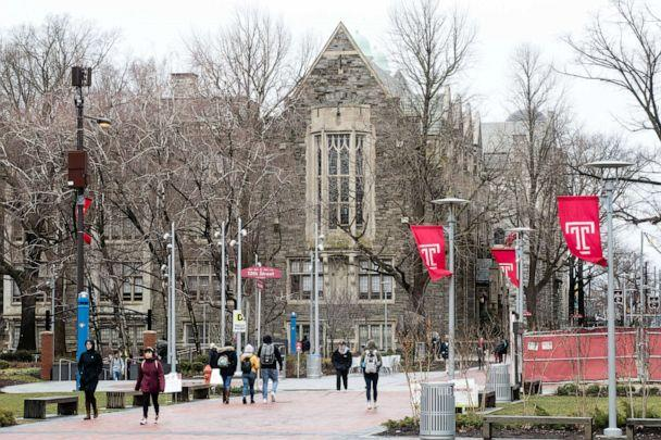 PHOTO: People walk on the Temple University campus in Philadelphia, March 22, 2019. (Matt Rourke/AP, FILE)