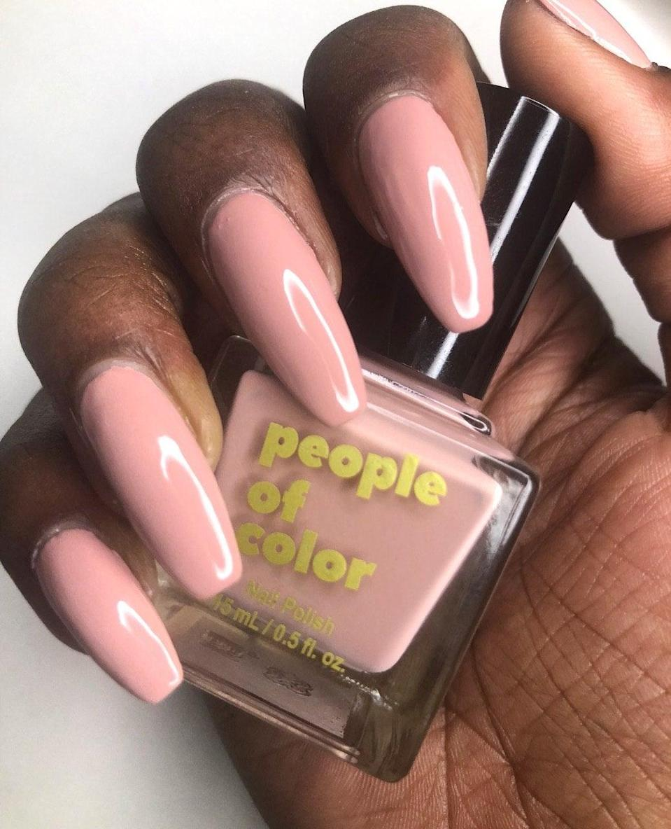 """<h3>People Of Color</h3><br>Nude isn't one-size-fits-all, and that's especially true in the nail polish category. To fill the void, Jacqueline Carrington, the founder of People of Color, created a 5-piece collection with neutral polishes that truly complement every shade of melanated skin. People Of Color also offers a variety of vibrant lacquers, from neon yellow to fire-engine red, and they're all non-toxic, vegan, and cruelty-free. <br><br><strong>people of color beauty</strong> PINK SAND NAIL POLISH, $, available at <a href=""""https://go.skimresources.com/?id=30283X879131&url=https%3A%2F%2Fwww.peopleofcolorbeauty.com%2Fshop%2Fpink-sand"""" rel=""""nofollow noopener"""" target=""""_blank"""" data-ylk=""""slk:people of color beauty"""" class=""""link rapid-noclick-resp"""">people of color beauty</a>"""