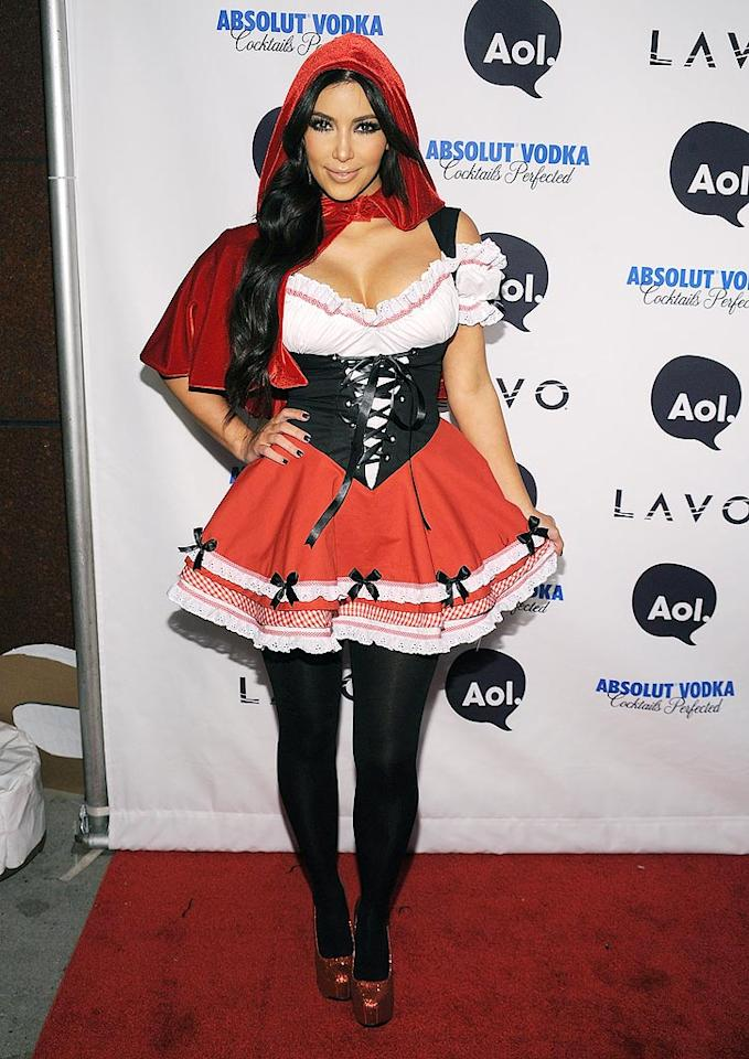 """Who's afraid of the Big Bad Wolf? Kim Kardashian, who was a sexy Little Red Riding Hood at Klum's soiree. Bryan Bedder/<a href=""""http://www.gettyimages.com/"""" target=""""new"""">GettyImages.com</a> - October 31, 2010"""