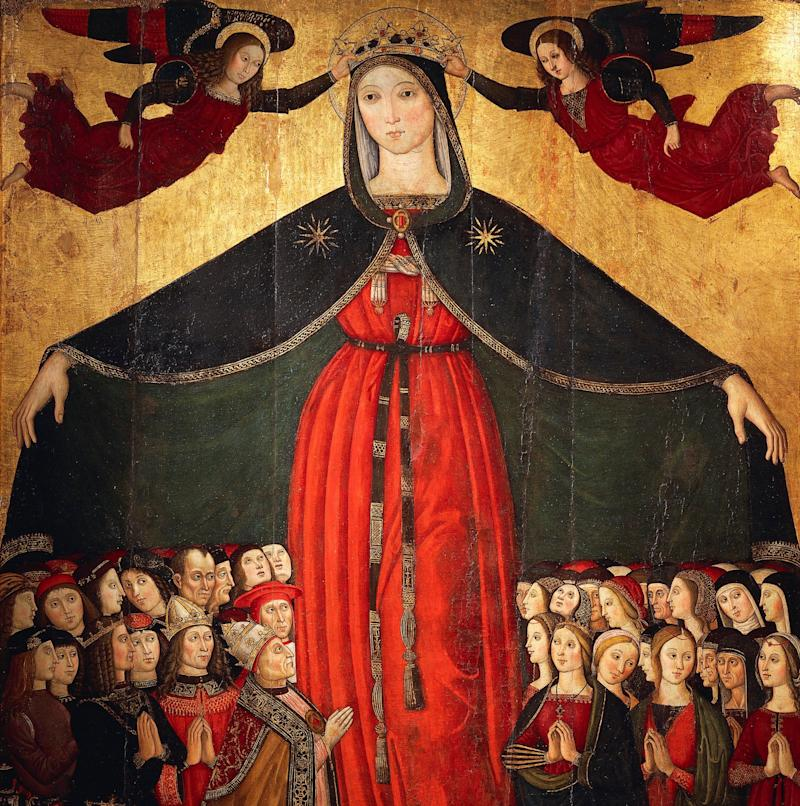 Kings, bishops and laymen, nuns, mothers and young women shelter under Mary's cloak -  www.bridgemanimages.com