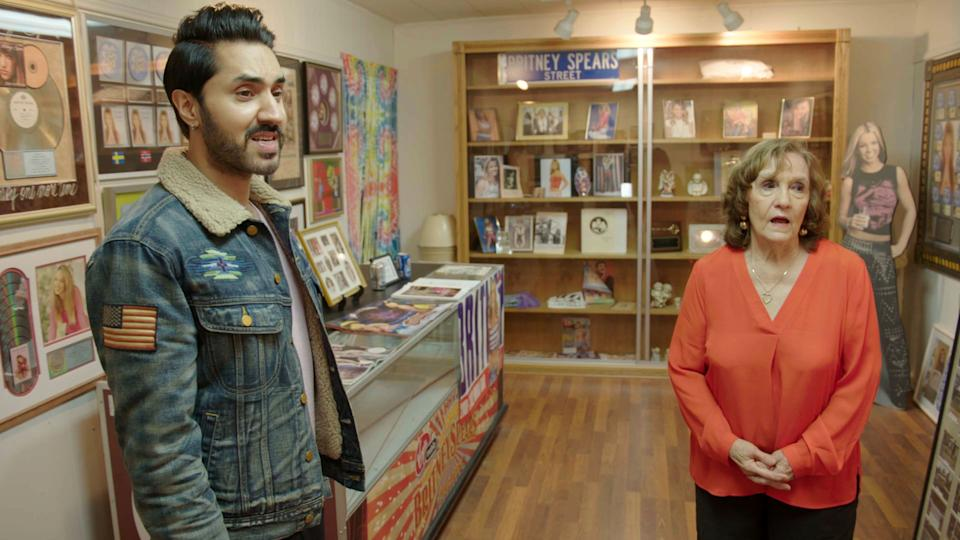 Programme Name: The Battle for Britney: Fans, Cash and a Conservatorship  - TX: n/a - Episode: The Britney Battle: Searching for Truth (w/t) (No. n/a) - Picture Shows: talking to the owner of the Kentwood Britney Spears Museum. Mobeen Azhar - (C) Forest Ventures Limited  - Photographer: Screengrab