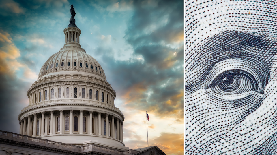 US Capitol Building and the eye of Ben Franklin has it appears on the US $100 bill