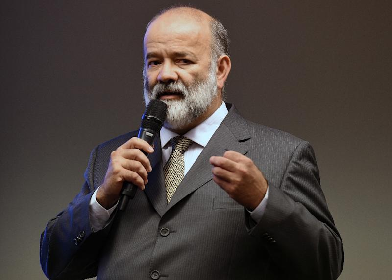 Former treasurer of Brazil's ruling Workers' party (PT), Joao Vaccari, testifying before a special committee of the Brazilian Congress on April 9, 2015