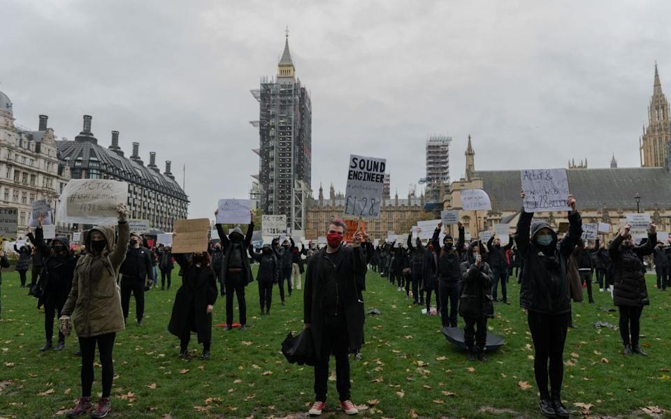 Theatre performers, creatives and technicians gather in Parliament Square to take part in the Survival in the Square' creative demonstration to highlight the plight of live events industry shut down due the Covid-19 pandemic - Wiktor Szymanowicz/Barcroft Media