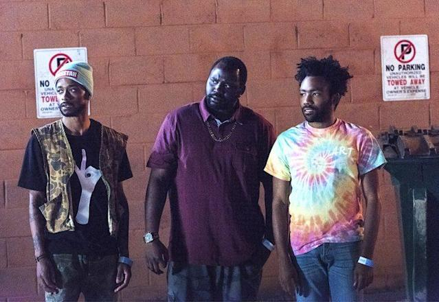 From left: <em>Atlanta</em> stars Lakeith Stanfield as Darius, Brian Tyree Henry as Alfred Miles, and Donald Glover as Earnest Marks. (Photo: Guy D'Alema/FX)
