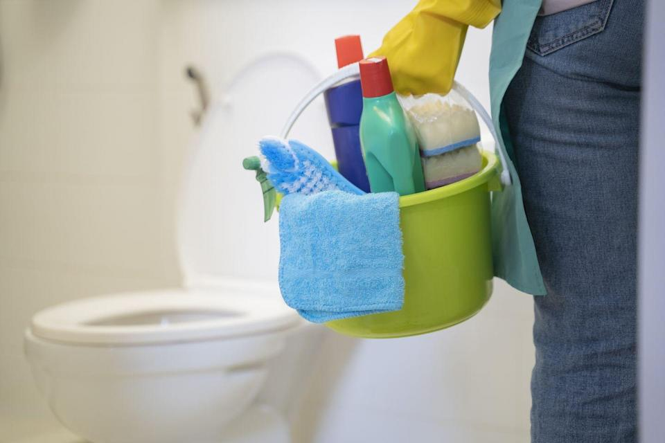 """<p>""""Don't have 100 products,"""" Silberstein says. """"Most people think they have no space under their sink, but they just have so many products they don't need."""" She suggests picking your favorite multi-surface cleaner, glass cleaner, and bathroom cleaner, and storing those with a few sponges and rags in a bin under the sink. </p>"""