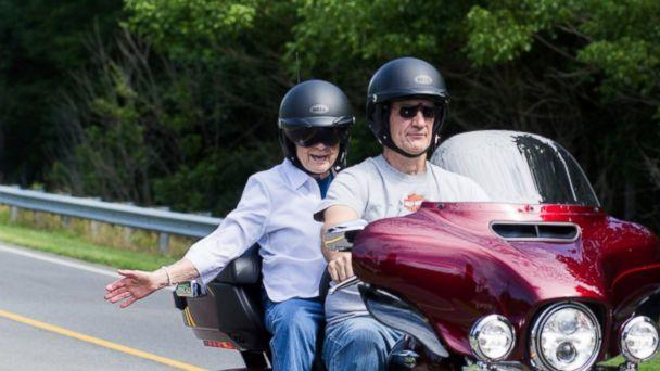 PHOTO: Mildred Garrison, 93, of Reidsville, N.C., fulfilled her lifelong dream of riding a Harley-Davidson motorcycle on June 24, 2017. (Morgan Cates/Cates Photography)